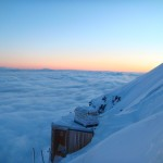 Above the clouds and above the Gouter Hut waiting for sunrise