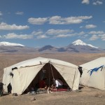 Bedding down for the night in the Atacama Desert with views of the Andres Camo