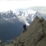 French Alps Dave working the Razor Pitch on the Chapelle de la Gliere route