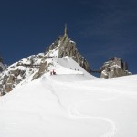 Heading back up to the Aiguille du Midi after a hard day on the glacier Camo Tom and Dave