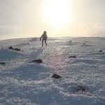 Scottish winter climbing Tom heading to the summit of Cairn Gorm