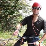 Italian alps camo on an easy belay