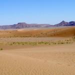sahara dunes and mountain range